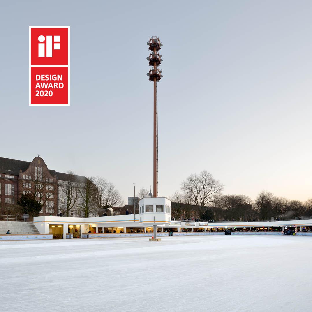 """IF DESIGN AWARS 2020 für die historische Eisbahn im Park """"Planten un Blomen"""" in Hamburg"""