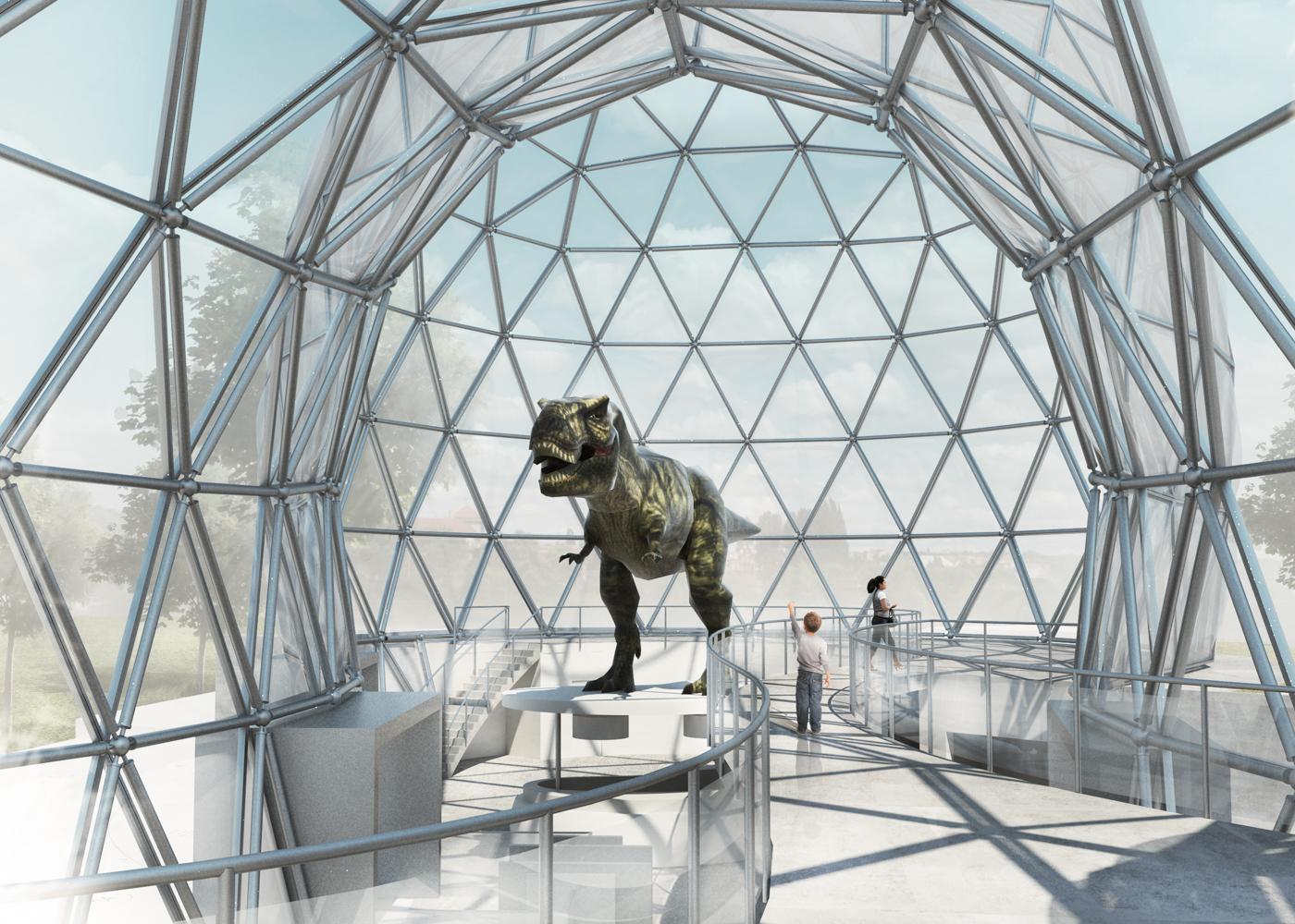 WettbWettbewerb Visualisierung Mitoseum Innenperspektive auf Dinosaurier