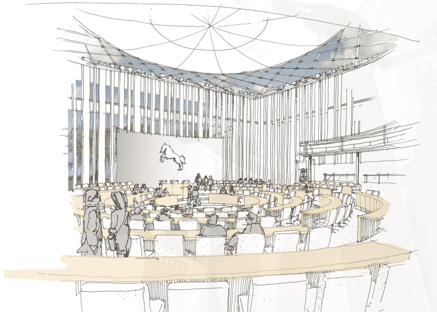 Visualisierung Wettbewerb Plenarsaal Hannover Wandelhalle
