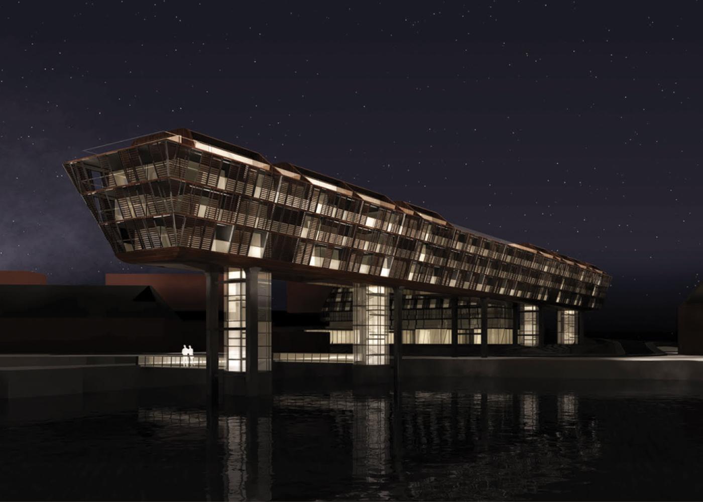 Wettbewerb Visualisierung Exportgebäude Sonvik Ansicht bei Nacht
