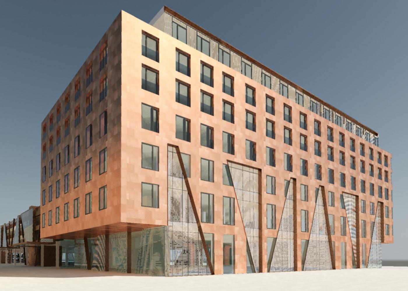Visualisierung Fassadenwettbewerb Kupfer Hotel ZOB Kiel