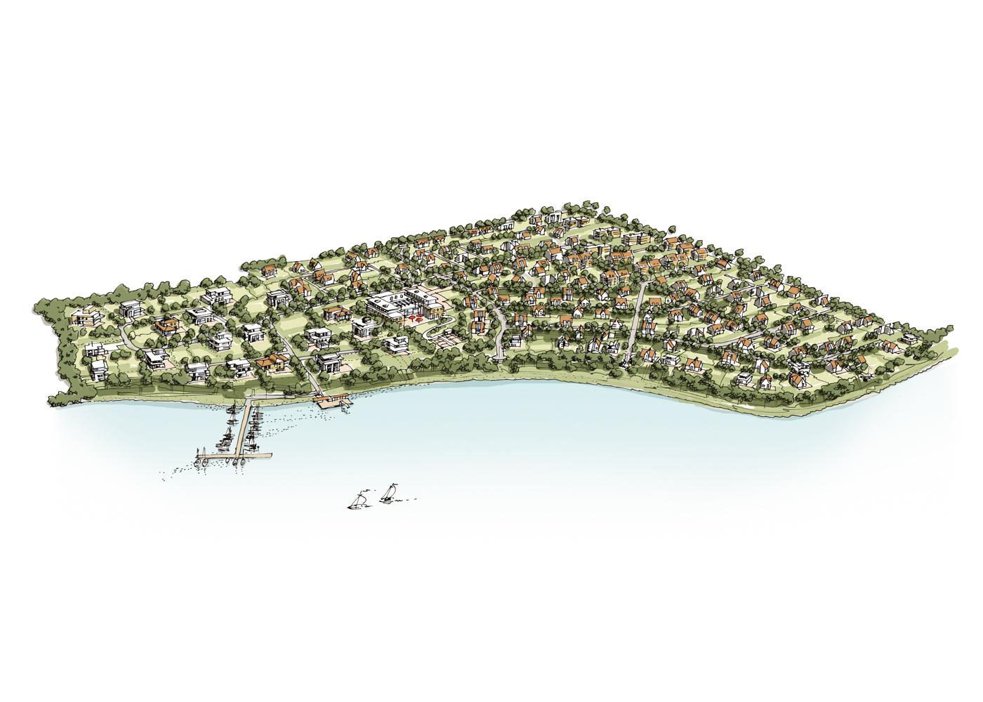 Visualisierung Wettbewerb Schleiterrassen Luftbild Kappeln