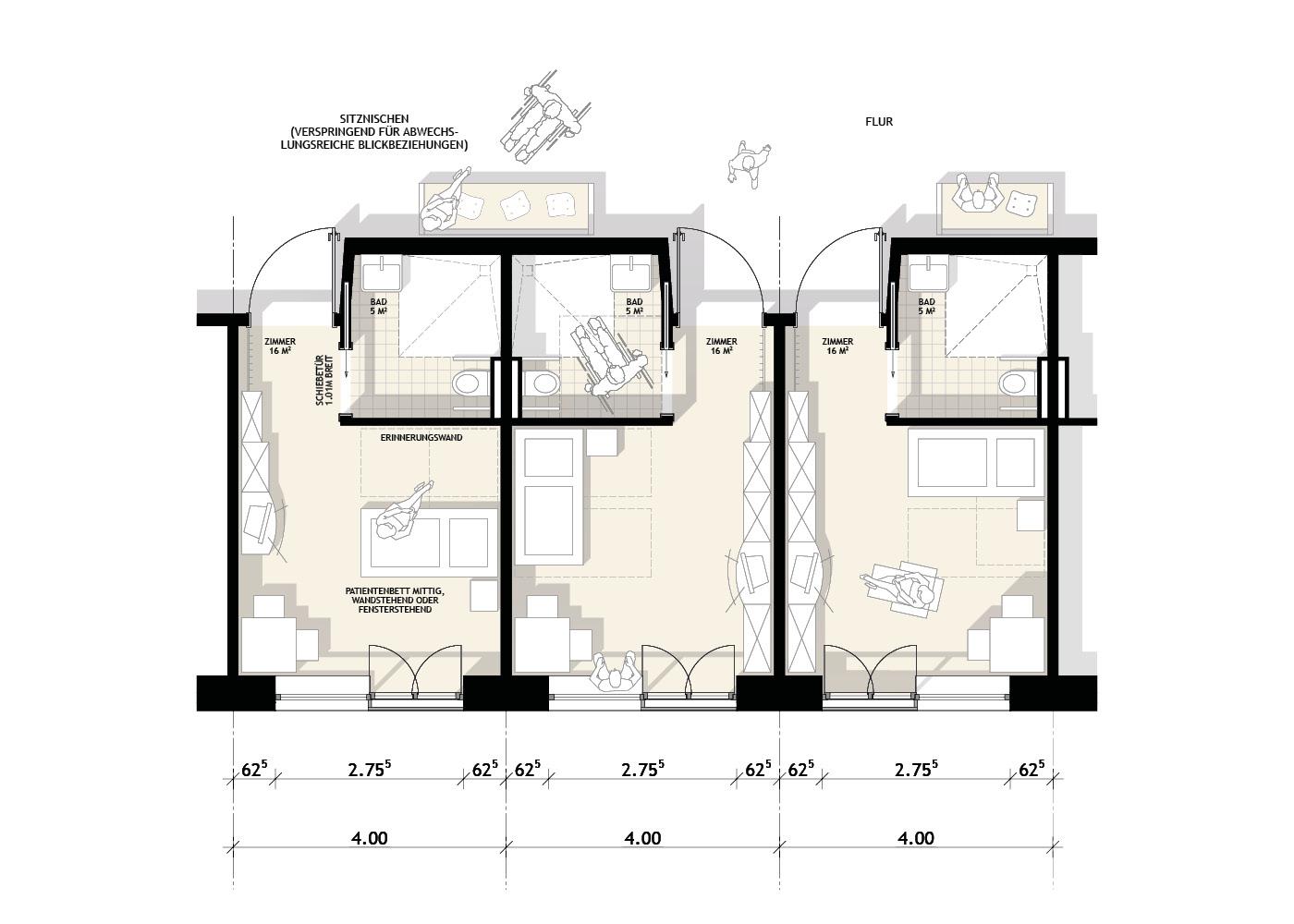 Wettbewerb Seniorenzentrum Hohenwestedt Zimmertypen
