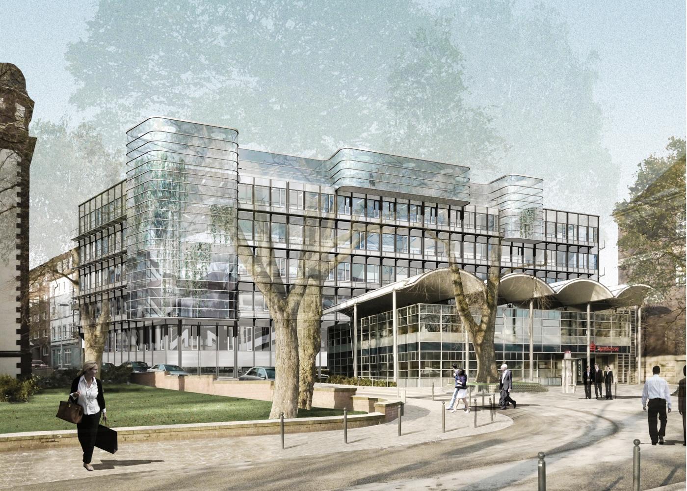 Visualisierung Wettbewerb Riegelbau Fördesparkasse Kiel